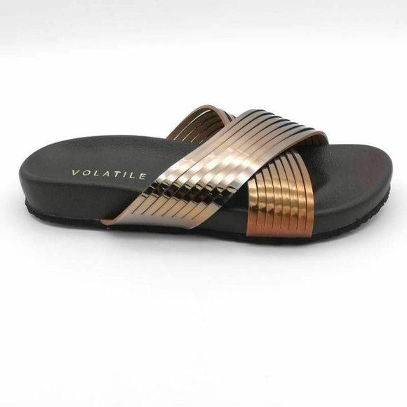 VOLATILE Clotters Slide Sandals Metallic 6 New